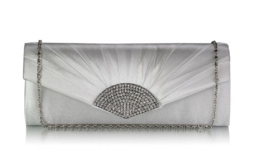 Edith Ivory Satin Bridal Clutch Bag, Ivory Wedding Evening Bag